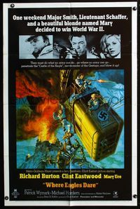 2r956 WHERE EAGLES DARE 1sheet '68 Clint Eastwood, Richard Burton, Mary Ure, art by Frank McCarthy!