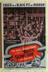 2r958 WHITE SLAVE SHIP one-sheet movie poster '62 L'Ammutinamento, great image of sexy caged women!