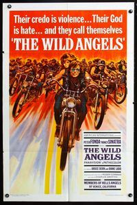2r960 WILD ANGELS 1sheet '66 classic image of biker Peter Fonda & sexy Nancy Sinatra on motorcycle!
