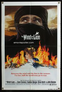 2r965 WIND & THE LION one-sheet movie poster '75 art of Sean Connery & Candice Bergen, John Milius