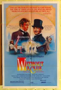2r968 WITHOUT A CLUE 1sheet '88 great artwork of Michael Caine & Ben Kingsley all dressed up by JD!