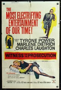 2r969 WITNESS FOR THE PROSECUTION 1sheet '58 Billy Wilder, Tyrone Power, Marlene Dietrich, Laughton