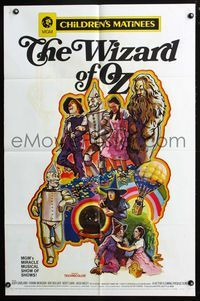 2r970 WIZARD OF OZ one-sheet movie poster R70 cool different artwork of top cast by Green!