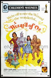 2r971 WIZARD OF OZ 1sheet R72 wonderful completely different art of top stars on Yellow Brick Road!