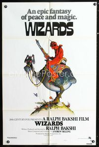2r972 WIZARDS style A one-sheet movie poster '77 Ralph Bakshi, cool fantasy art by William Stout!
