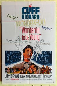 2r974 WONDERFUL TO BE YOUNG one-sheet movie poster '62 Cliff Richard, Robert Morley, rock 'n' roll!
