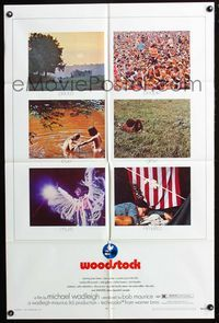 2r975 WOODSTOCK one-sheet movie poster '70 six images of the most classic rock & roll concert!