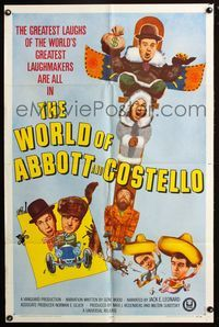 2r976 WORLD OF ABBOTT & COSTELLO one-sheet '65 Bud & Lou's greatest laughmakers, great images!