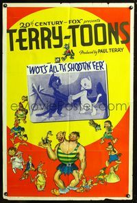 2r013 WOTS ALL TH' SHOOTIN' FER 1sheet '39 cool art of Terry characters, plus cats!