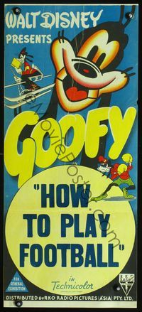 2w643 HOW TO PLAY FOOTBALL Aust daybill 44 Walt Disney great images of Goofy playing sports