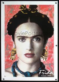 2x131 FRIDA linen teaser one-sheet '02 super close image of sexy Salma Hayek as artist Frida Kahlo!