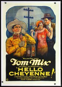 2x001 HELLO CHEYENNE linen one-sheet '28 cool stone litho art of Tom Mix talking on early telephone!