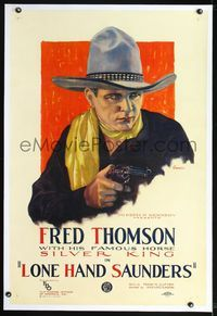2x006 LONE HAND SAUNDERS linen style A 1sh '26 best artwork of Fred Thomson pointing gun by Currier!