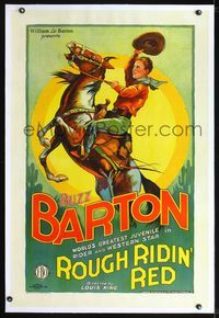 2x008 ROUGH RIDIN' RED linen B 1sheet '28 colorful stone litho of teen Buzz Barton on rearing horse!