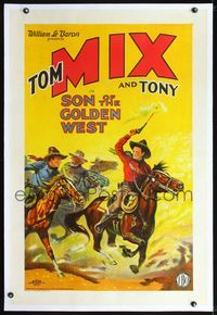2x003 SON OF THE GOLDEN WEST linen style B 1sh '28 wonderful stone litho art of Tom Mix riding Tony!