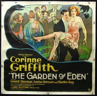 2z145 GARDEN OF EDEN linen 6sheet '28 cool stone litho of sexy Corinne Griffith & serpent & apple!