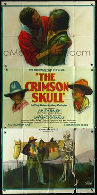 3a008 CRIMSON SKULL 3sh '21 great stone litho of black cowboy scared by skeleton, plus lead stars!