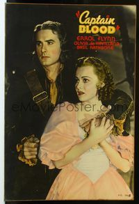 3a016 CAPTAIN BLOOD 40x60 '35 great full-length c/u of Errol Flynn holding Olivia de Havilland!