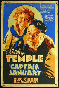 3a011 CAPTAIN JANUARY 40x60 '36 great art of cutest sailor Shirley Temple & captain Guy Kibbee!