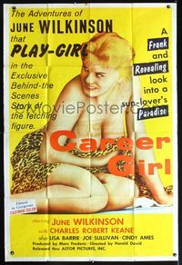 3a057 CAREER GIRL 40x60 movie poster '59 super sexy near-naked June Wilkinson holding leopard skin!