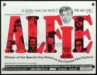 3a114 ALFIE half-sheet '66 British cad Michael Caine loves them and leaves them, ask any girl!
