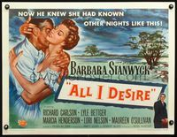 3a115 ALL I DESIRE style A 1/2sh '53 great close up art of sexy Barbara Stanwyck & Richard Carlson!