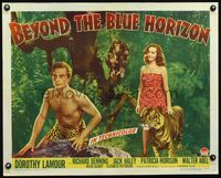 3a118 BEYOND THE BLUE HORIZON style B 1/2sh '42 sexy Dorothy Lamour & Richard Denning in loincloth!