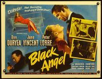 3a120 BLACK ANGEL half-sheet '46 tough guy Dan Duryea, sexy June Vincent, Peter Lorre with gun!