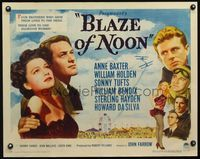 3a121 BLAZE OF NOON style B half-sheet '47 circus stunt pilot William Holden & sexy Anne Baxter!