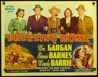 3a123 BREEZING HOME 1/2sheet '37 cool horse racing artwork, and pretty Binnie Barnes & Wendy Barrie!