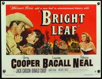 3a124 BRIGHT LEAF 1/2sheet '50 great art of Gary Cooper grabbing sexy Lauren Bacall, Patricia Neal