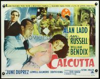 3a126 CALCUTTA style A 1/2sheet '46 great image of Alan Ladd restraining sexy Gail Russell in India!