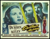 3a128 CHRISTMAS HOLIDAY half-sheet '44 Deanna Durbin, love was her crime, love was her punishment!