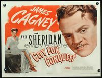 3a129 CITY FOR CONQUEST 1/2sh R46 great huge c/u headshot of James Cagney + beautiful Ann Sheridan!