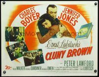3a130 CLUNY BROWN 1/2sheet '46 Charles Boyer, Jennifer Jones, Lawford, directed by Ernst Lubitsch!