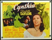3a131 CYNTHIA style B 1/2sh '47 wonderful c/u of pretty young Elizabeth Taylor & with Jimmy Lydon!