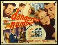 3a132 DANGEROUS NUMBER 1/2sh '37 multiple images of sexy Ann Sothern & Robert Young, Reginald Owen