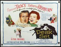 3a134 DESK SET half-sheet '57 Spencer Tracy & Katharine Hepburn make the office a wonderful place!