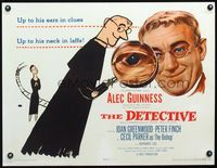3a135 DETECTIVE half-sheet '54 cool different art and photo of Alec Guinness with magnifying glass!