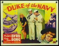 3a138 DUKE OF THE NAVY half-sheet '42 Ralph Byrd & Stubby Kruger stare at Veda Ann Borg's sexy leg!