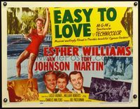 3a139 EASY TO LOVE style A 1/2sheet '53 great image of sexy waterskier Esther Williams, Van Johnson