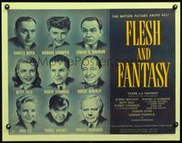 3a140 FLESH & FANTASY 1/2sh '42 great portraits of Edward G. Robinson, Barbara Stanwyck & 7 others!