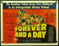 3a141 FOREVER & A DAY style A 1/2sheet '43 Merle Oberon, Charles Laughton, Ida Lupino & 75 others!