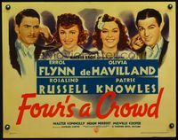 3a142 FOUR'S A CROWD style B 1/2sh '38 Errol Flynn, Olivia de Havilland, Rosalind Russell, Knowles