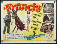 3a143 FRANCIS THE TALKING MULE 1/2sh '49 great image of Donald O'Connor, Patricia Medina & donkey!
