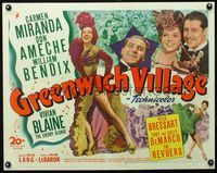 3a145 GREENWICH VILLAGE half-sheet '44 sexy full-length Carmen Miranda, Don Ameche, William Bendix