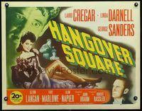 3a146 HANGOVER SQUARE 1/2sheet '45 great full-length image of sexy Linda Darnell + Sanders & Cregar!