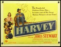 3a149 HARVEY style B 1/2sheet '50 great image of James Stewart sitting with 6 foot imaginary rabbit!