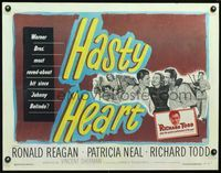3a150 HASTY HEART 1/2sheet '50 patient Ronald Reagan & nurse Patricia Neal help dying Richard Todd!