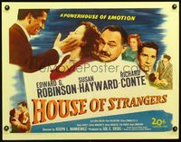 3a151 HOUSE OF STRANGERS half-sheet '49 Edward G. Robinson, Richard Conte slaps Susan Hayward!